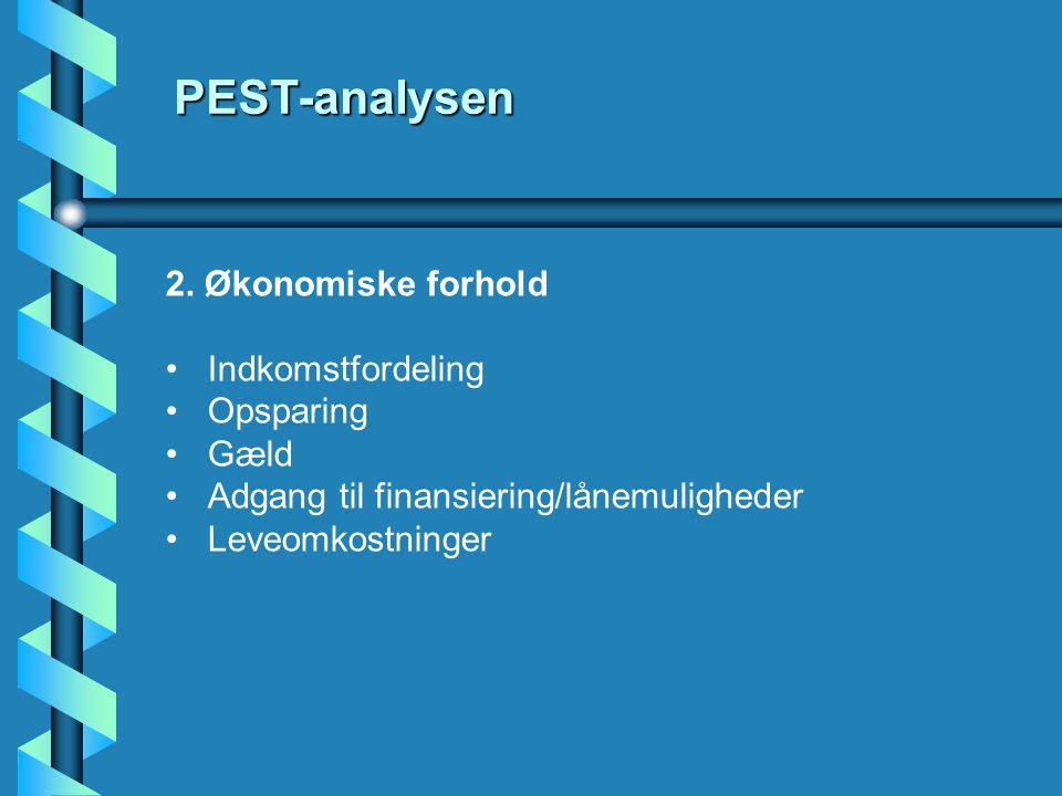 PEST-analysen 2. Økonomiske forhold Indkomstfordeling Opsparing Gæld