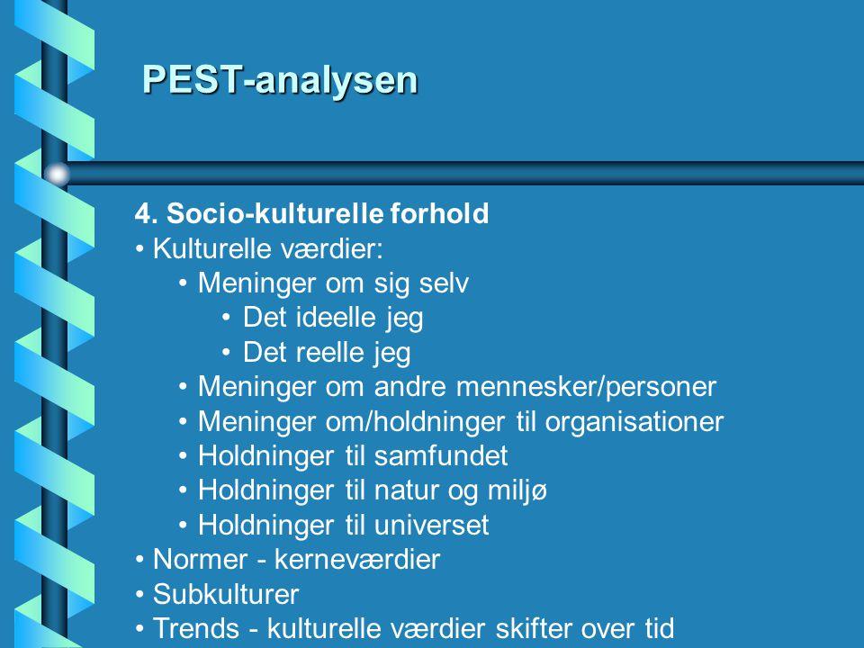 PEST-analysen 4. Socio-kulturelle forhold Kulturelle værdier: