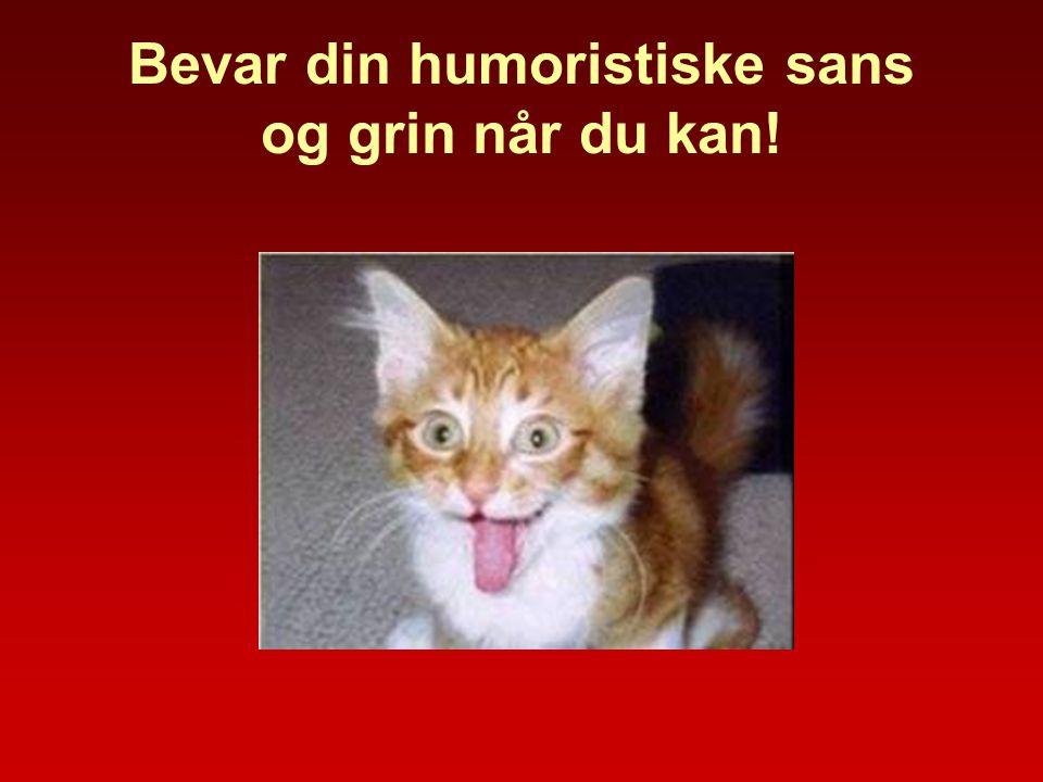 Bevar din humoristiske sans og grin når du kan!