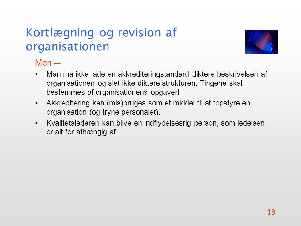 Kortlægning og revision af organisationen