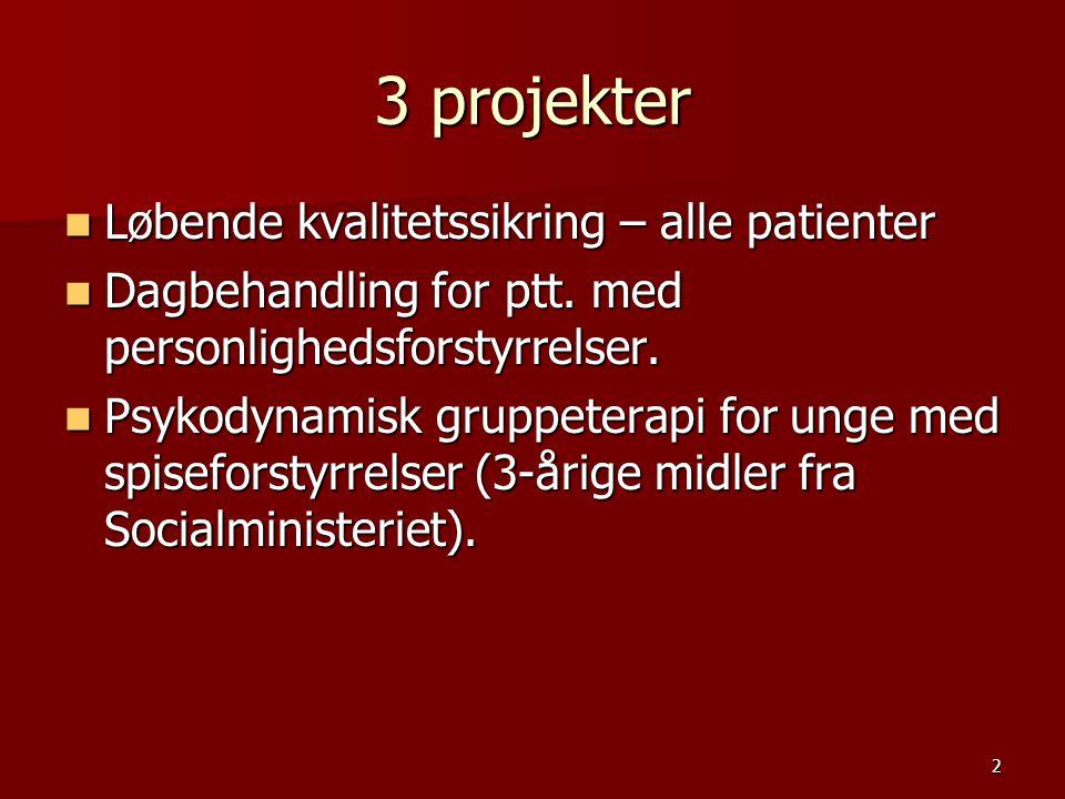 3 projekter Løbende kvalitetssikring – alle patienter