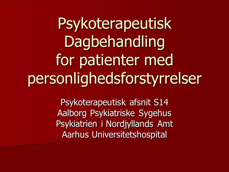 Psykoterapeutisk Dagbehandling for patienter med personlighedsforstyrrelser