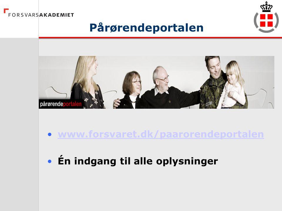 Pårørendeportalen www.forsvaret.dk/paarorendeportalen