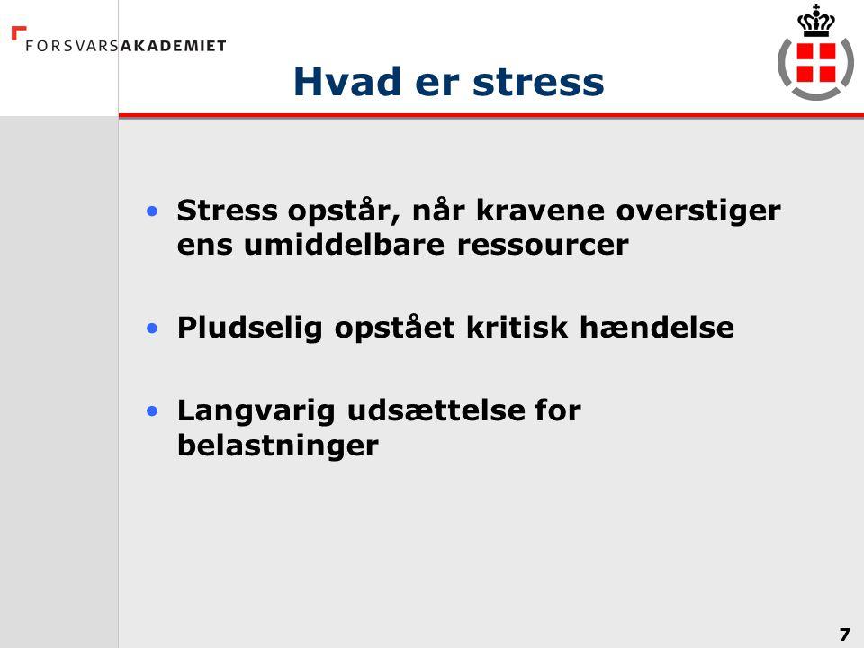 Hvad er stress Stress opstår, når kravene overstiger ens umiddelbare ressourcer. Pludselig opstået kritisk hændelse.