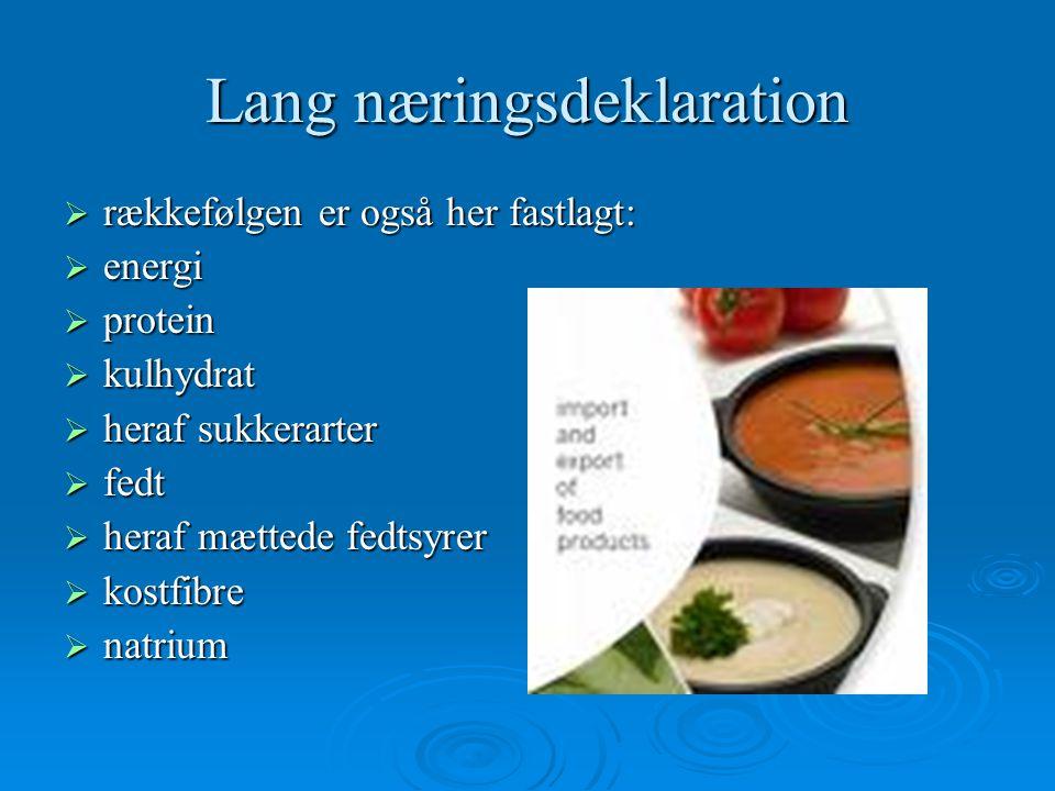 Lang næringsdeklaration