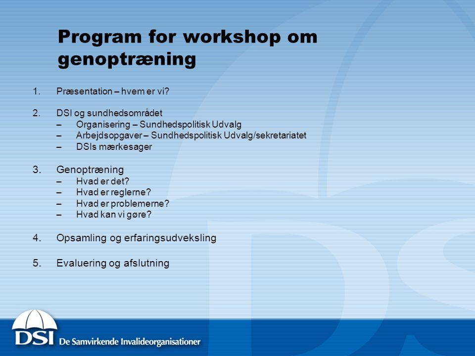 Program for workshop om genoptræning