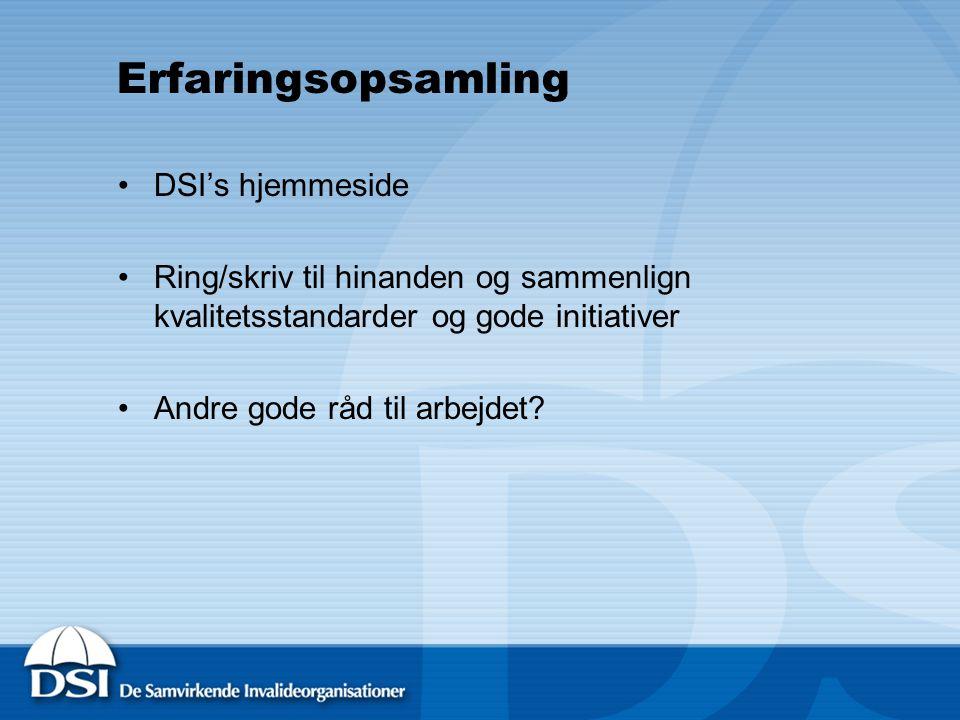 Erfaringsopsamling DSI's hjemmeside