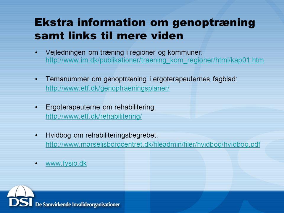 Ekstra information om genoptræning samt links til mere viden