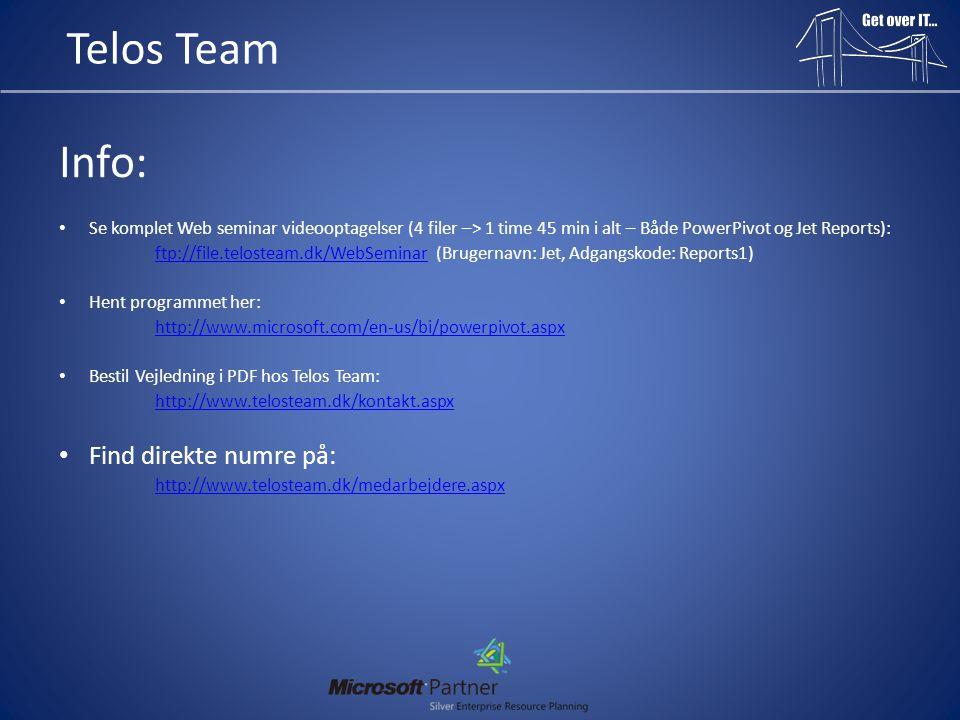 Telos Team Info: Find direkte numre på: