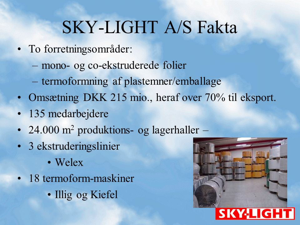 SKY-LIGHT A/S Fakta To forretningsområder: