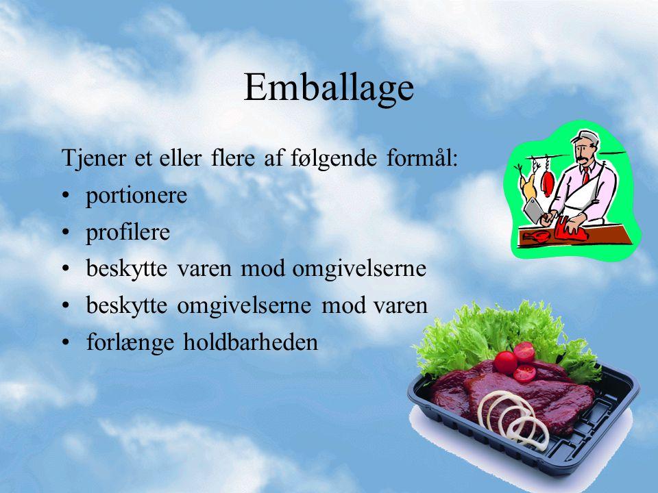 Emballage Tjener et eller flere af følgende formål: portionere