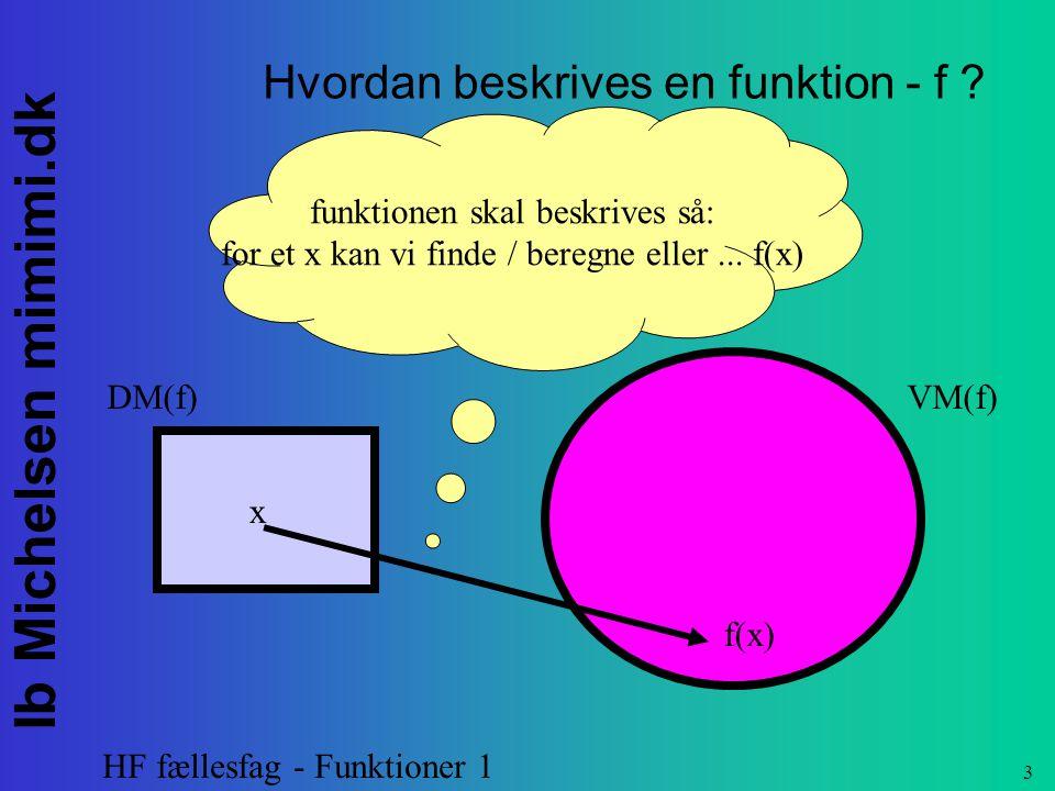 Hvordan beskrives en funktion - f