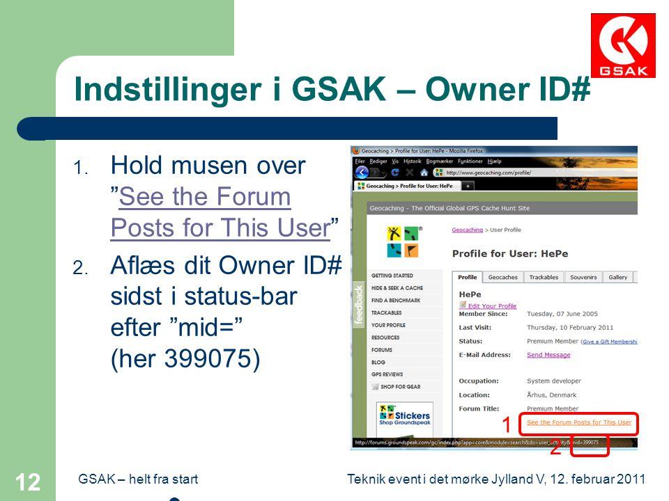 Indstillinger i GSAK – Owner ID#