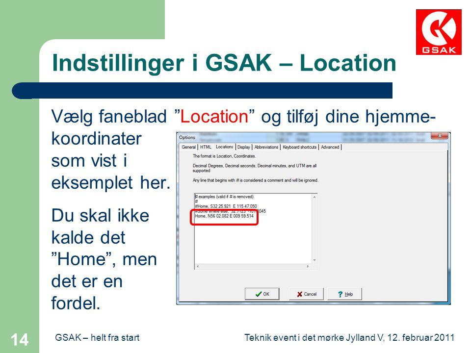 Indstillinger i GSAK – Location