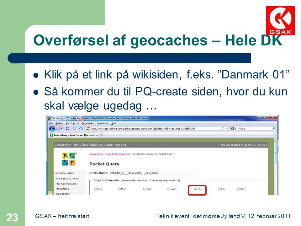 Overførsel af geocaches – Hele DK