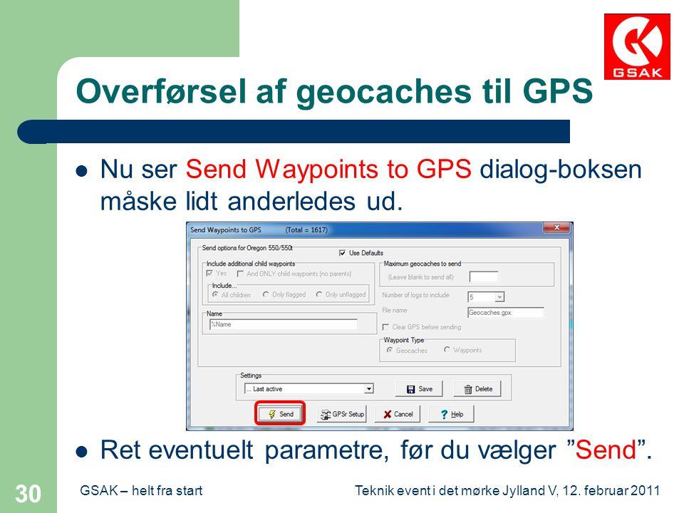 Overførsel af geocaches til GPS