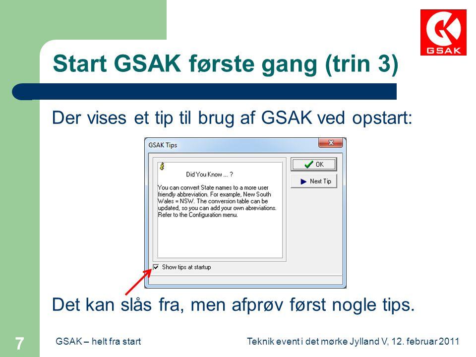 Start GSAK første gang (trin 3)