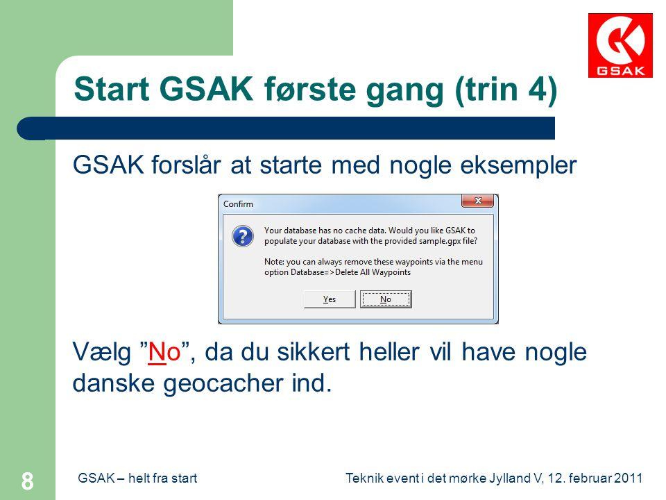 Start GSAK første gang (trin 4)