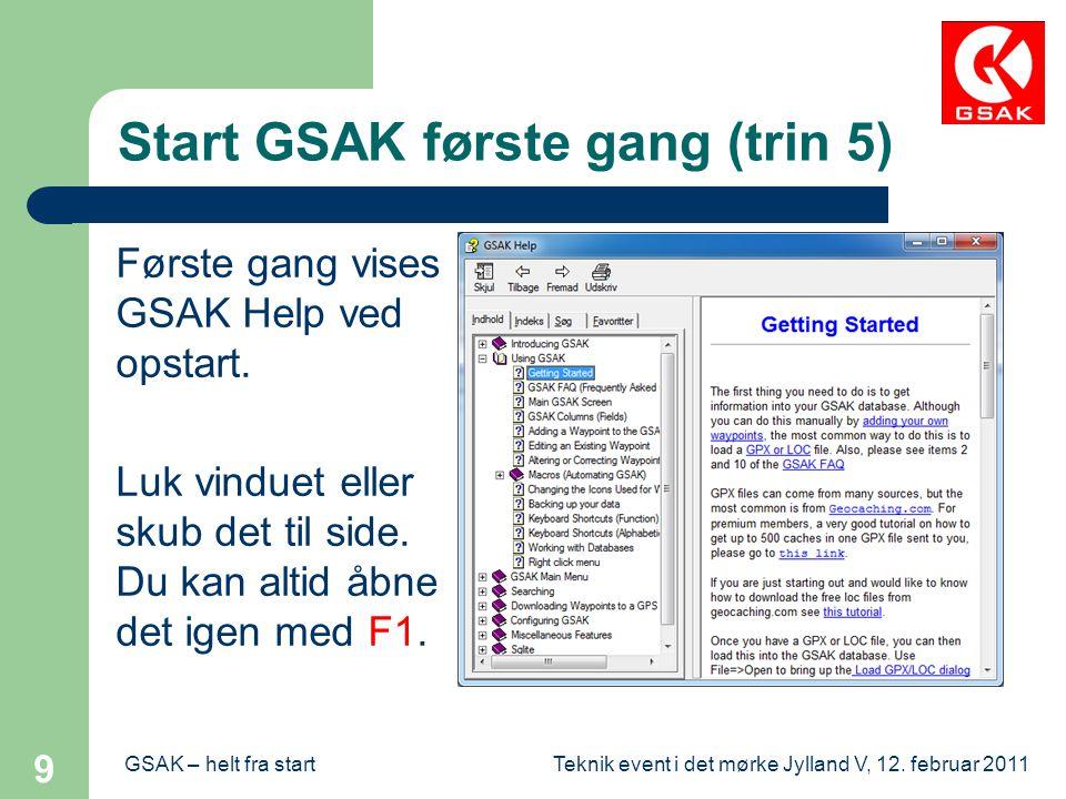 Start GSAK første gang (trin 5)