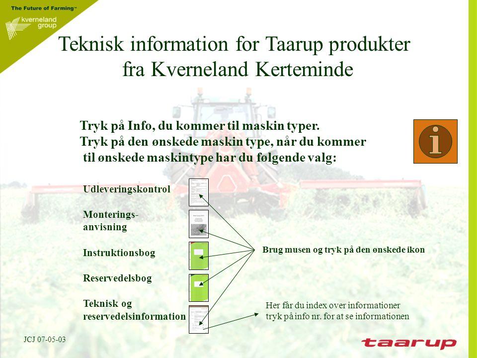 Teknisk information for Taarup produkter fra Kverneland Kerteminde