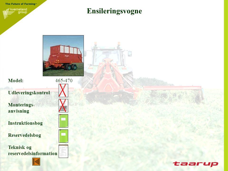 Ensileringsvogne Model: 465-470 Udleveringskontrol Monterings-