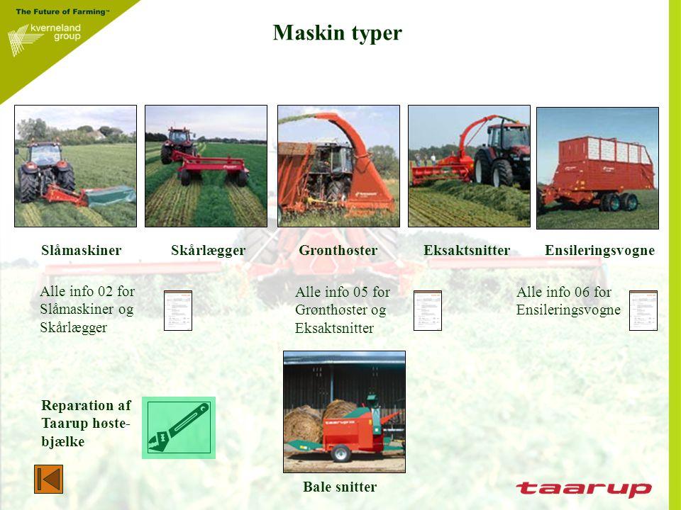 Maskin typer Slåmaskiner Skårlægger Grønthøster Eksaktsnitter Ensileringsvogne.