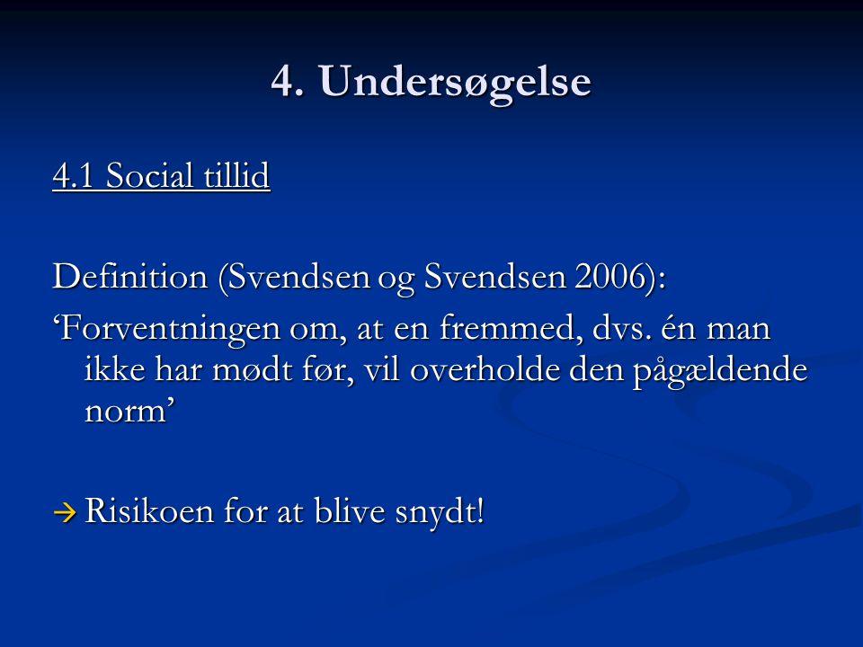 4. Undersøgelse 4.1 Social tillid