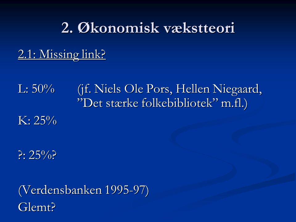 2. Økonomisk vækstteori 2.1: Missing link