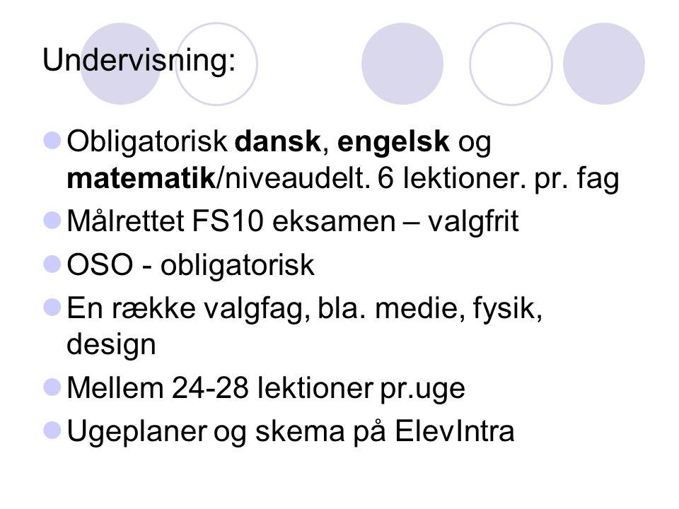 Undervisning: Obligatorisk dansk, engelsk og matematik/niveaudelt. 6 lektioner. pr. fag. Målrettet FS10 eksamen – valgfrit.