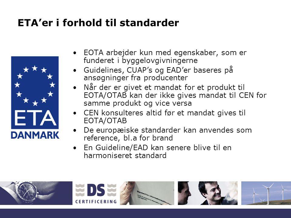 ETA'er i forhold til standarder