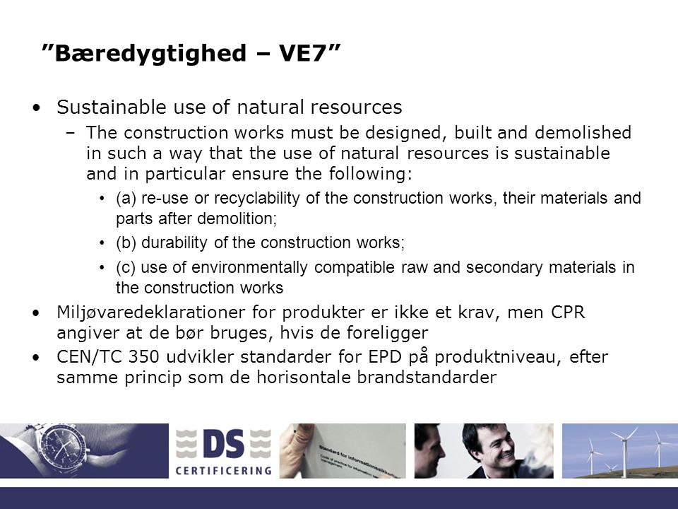 Bæredygtighed – VE7 Sustainable use of natural resources