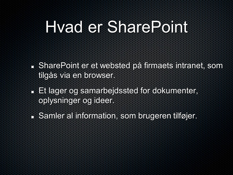Hvad er SharePoint SharePoint er et websted på firmaets intranet, som tilgås via en browser.