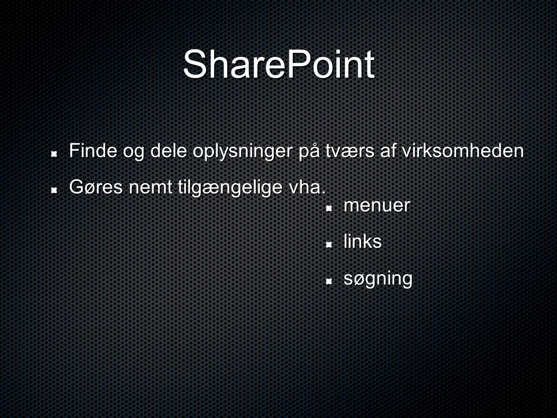 SharePoint Finde og dele oplysninger på tværs af virksomheden