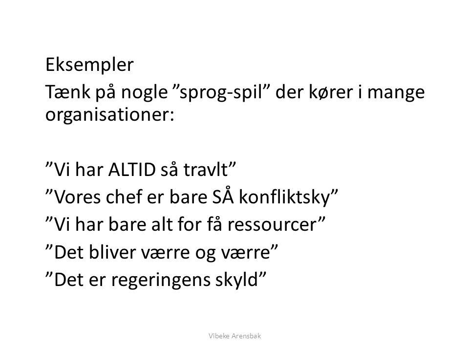 Tænk på nogle sprog-spil der kører i mange organisationer: