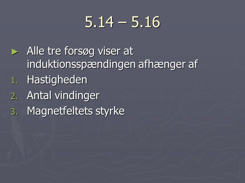 5.14 – 5.16 Alle tre forsøg viser at induktionsspændingen afhænger af
