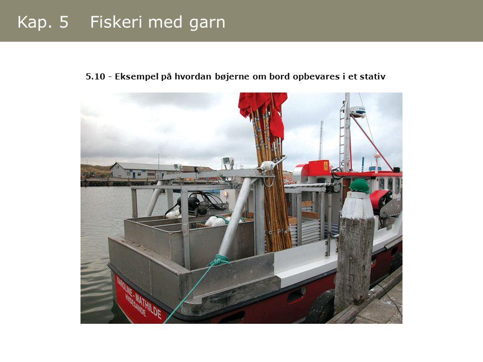 Kap. 5 Fiskeri med garn 5.10 - Eksempel på hvordan bøjerne om bord opbevares i et stativ