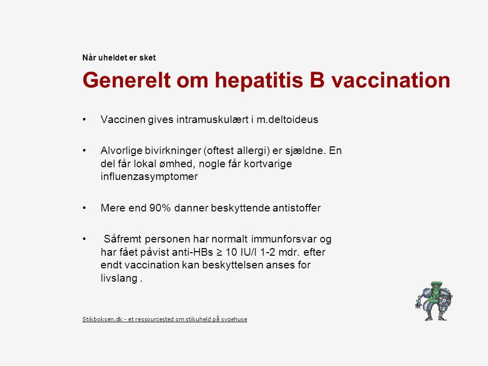 Generelt om hepatitis B vaccination