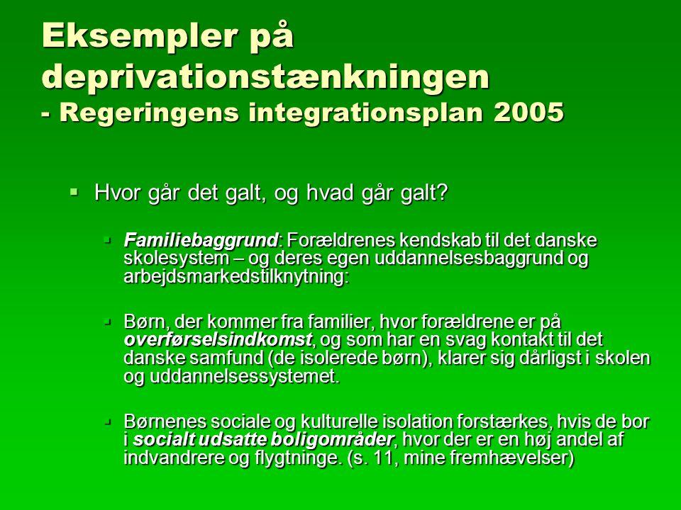 Eksempler på deprivationstænkningen - Regeringens integrationsplan 2005