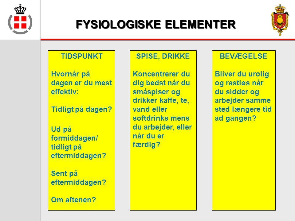 FYSIOLOGISKE ELEMENTER