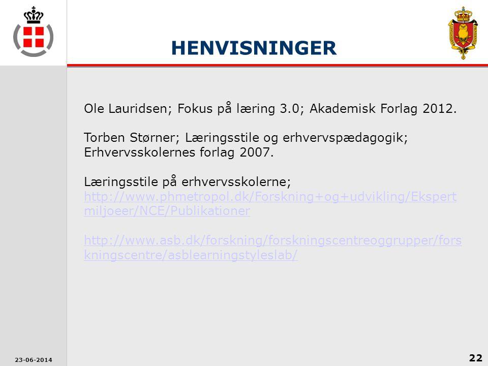 HENVISNINGER Ole Lauridsen; Fokus på læring 3.0; Akademisk Forlag 2012.