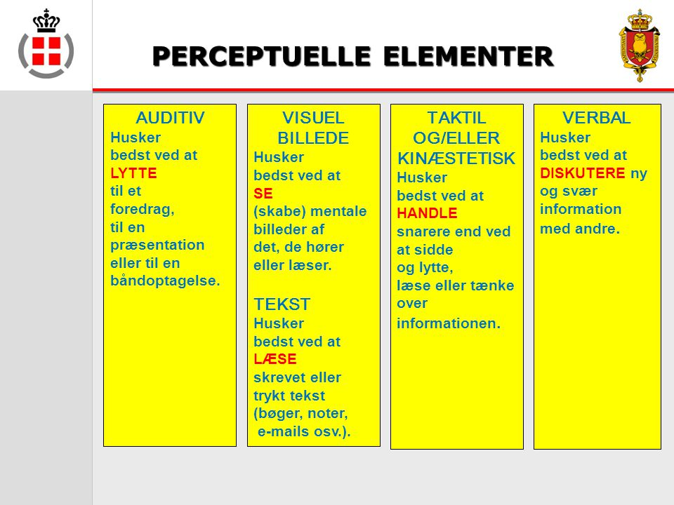 PERCEPTUELLE ELEMENTER