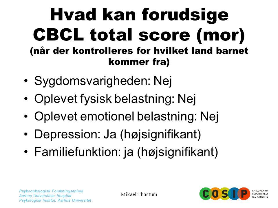 Hvad kan forudsige CBCL total score (mor) (når der kontrolleres for hvilket land barnet kommer fra)