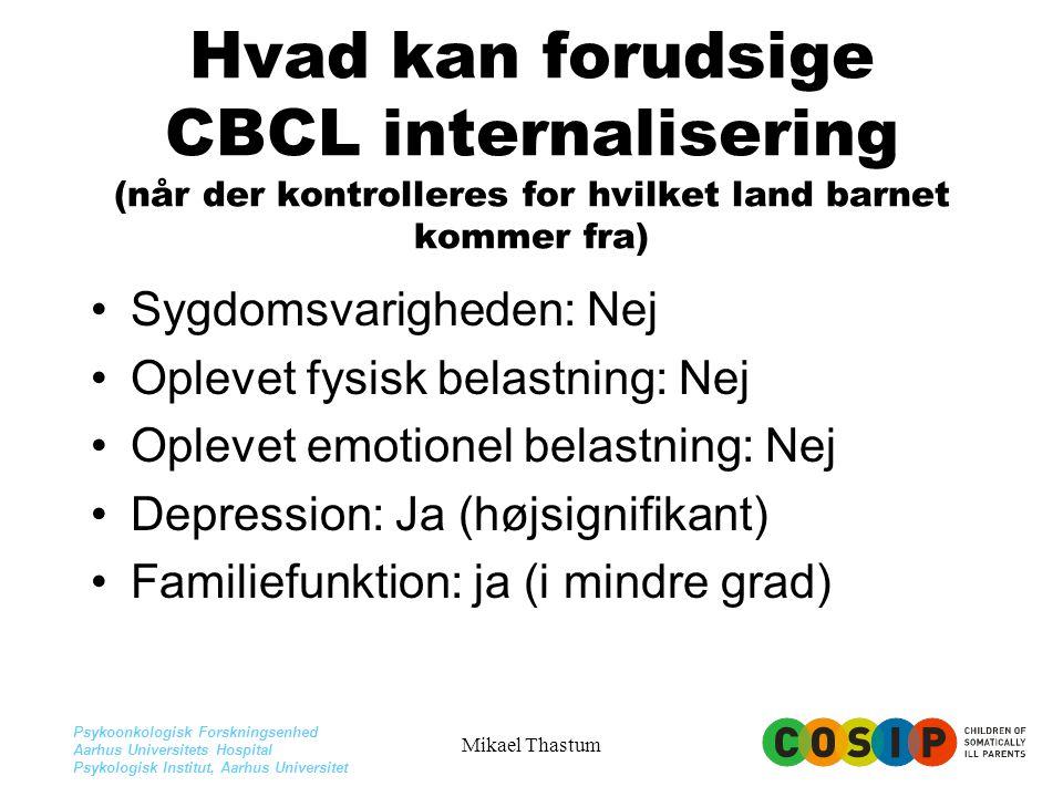 Hvad kan forudsige CBCL internalisering (når der kontrolleres for hvilket land barnet kommer fra)
