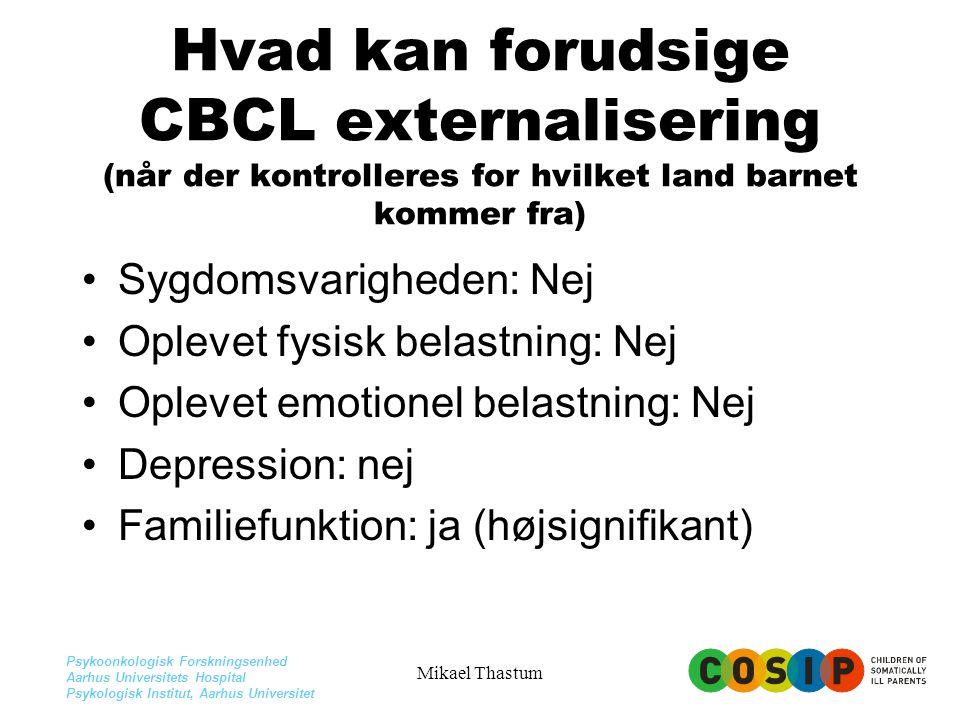 Hvad kan forudsige CBCL externalisering (når der kontrolleres for hvilket land barnet kommer fra)