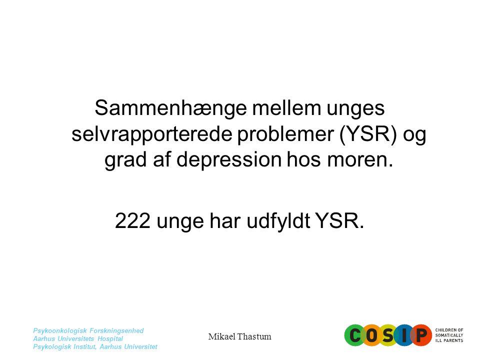 Sammenhænge mellem unges selvrapporterede problemer (YSR) og grad af depression hos moren.