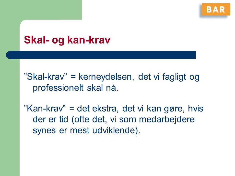Skal- og kan-krav Skal-krav = kerneydelsen, det vi fagligt og professionelt skal nå.