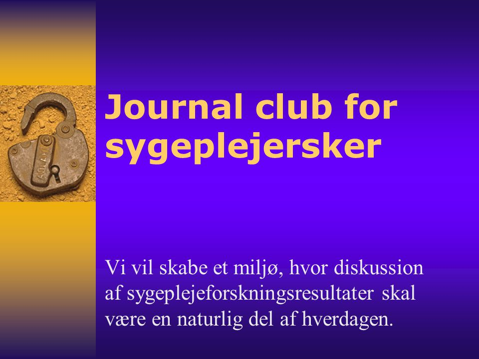 Journal club for sygeplejersker
