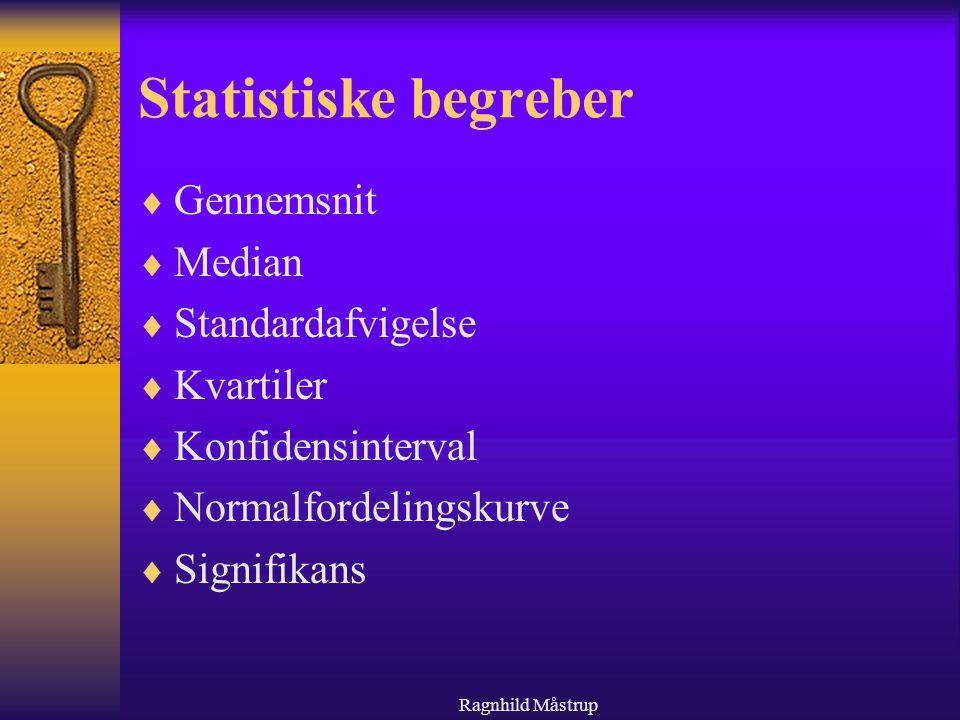 Statistiske begreber Gennemsnit Median Standardafvigelse Kvartiler