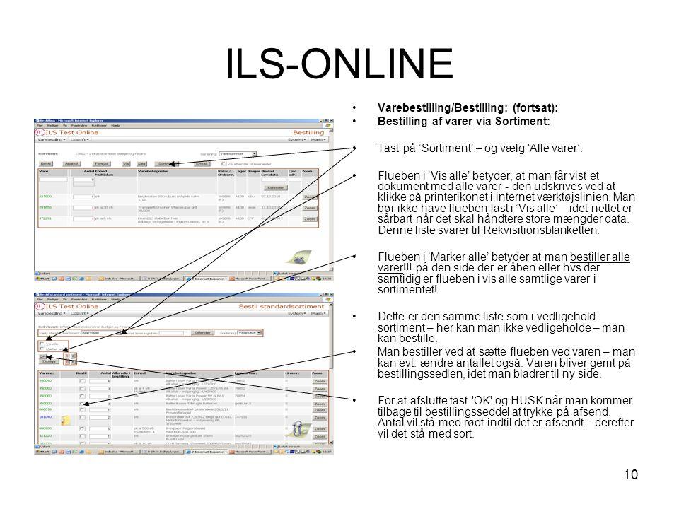 ILS-ONLINE Varebestilling/Bestilling: (fortsat):