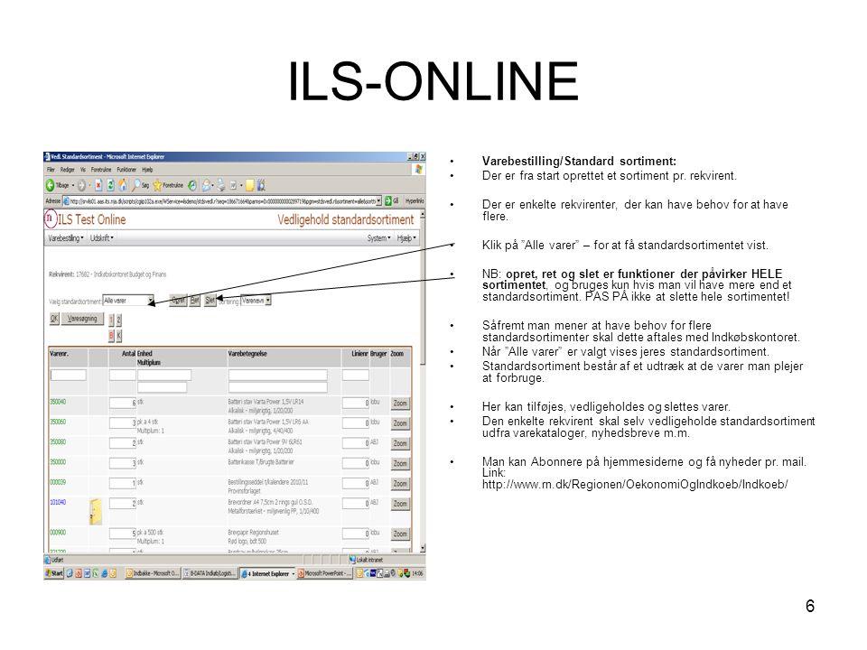 ILS-ONLINE Varebestilling/Standard sortiment: